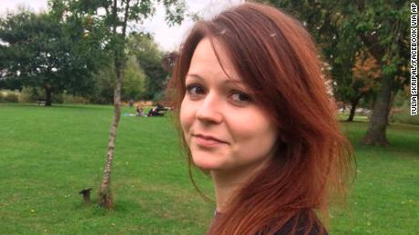 Yulia Skripal, 33, and her father were found slumped on a bench near a shopping center in Salisbury.