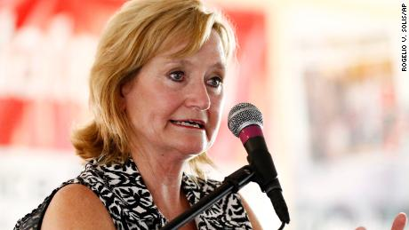 "State Commissioner of Agriculture and Commerce Cindy Hyde-Smith speaks about the positive actions of her department to protect and enhance the lot of the state's farmers during her address at the Neshoba County Fair in Philadelphia, Miss., Thursday, July 27, 2017. Known as ""Mississippi's Giant Houseparty,"" the fair is an annual gathering where hundreds of extended families live in brightly painted cabins for more than a week and among the featured events are two days of political speaking. (AP Photo/Rogelio V. Solis)"