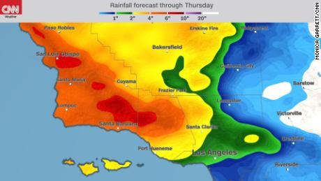 Moderate to heavy rainfall is forecast this week in Southern California.