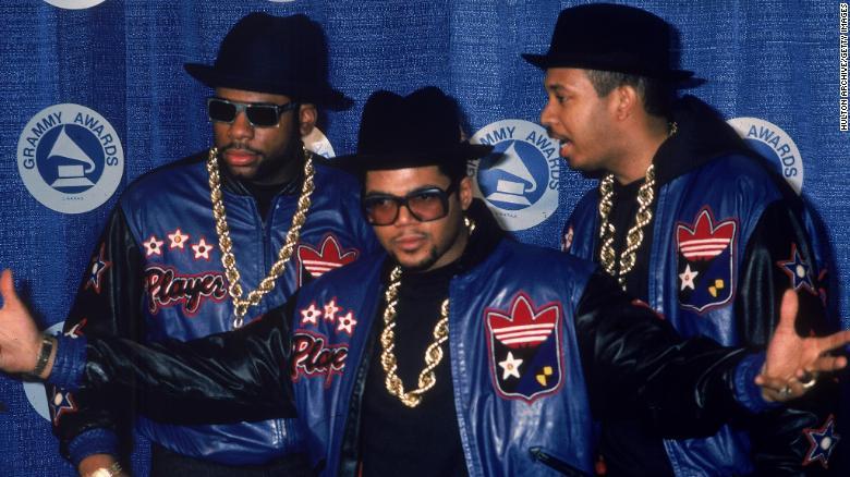 Jam Master Jay (Jason Mizell), Joe 'Run' Simmons and Darryl 'DMC' McDaniels at the Grammy Awards in the 1980s.