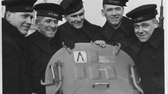 The Sullivan brothers on board the USS Juneau, 14 February 1942 From left to right: Joseph, Francis, Albert, Madison and George Sullivan.