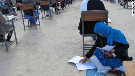 Jahan Taab, 25, taking Kankor exam in in Afghanistan's Daykundi province