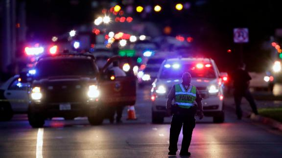 Emergency vehicles stage near the site of another explosion, Tuesday, March 20, 2018, in Austin, Texas. (AP Photo/Eric Gay)