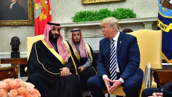 WASHINGTON, DC - MARCH 20:  President Donald Trump meets Crown Prince Mohammed bin Salman of the Kingdom of Saudi Arabia in the Oval Office at the White House on March 20, 2018 in Washington, D.C.  (Photo by Kevin Dietsch-Pool/Getty Images)