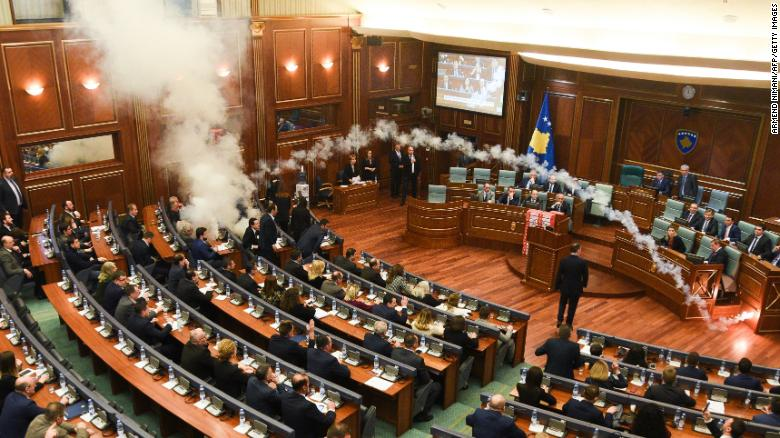 Watch tear gas fill Kosovo Parliament