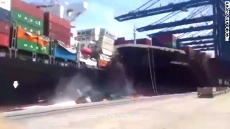 Containers go overboard when cargo ship crashes
