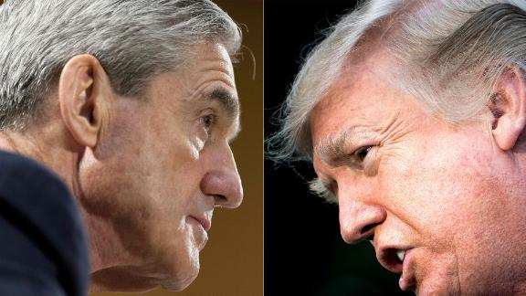 (COMBO) This combination of pictures created on January 8, 2018 shows files photos of FBI Director Robert Mueller (L) on June 19, 2013, in Washington, DC; and US President Donald Trump on December 15, 2017, in Washington, DC.