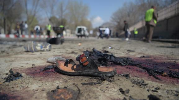 A sandal lies on the ground at the site of a suicide bomb attack in Kabul, Afghanistan, on March 21, 2018.