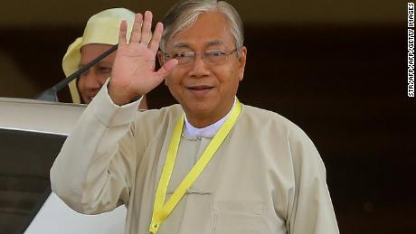 Htin Kyaw, a close friend of Aung San Suu Kyi, leaves after a parliament session in Naypyidaw on March 15, 2016.