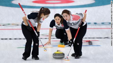 The Garlic Girls driving for gold against Sweden in the Winter Olympic gold medal match.