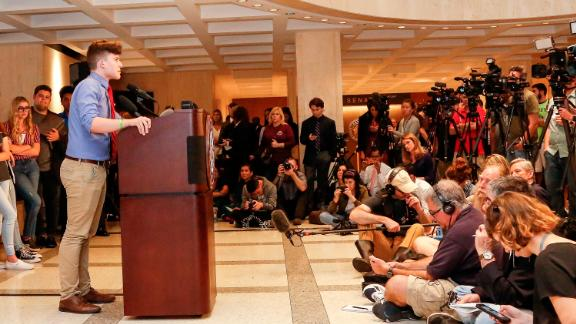 TALLAHASSEE, FL - FEBRUARY 21: Kevin Trejos, a student from Marjory Stoneman Douglas High School, speaks at the Florida State Capitol building on February 21, 2018 in Tallahassee, Florida.  In the wake of last week
