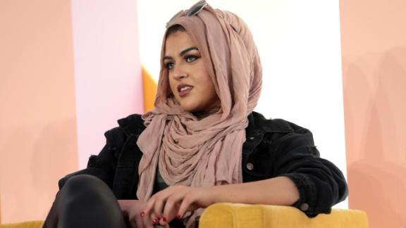 Amani Al-Khatahtbeh speaks onstage at Girlboss Rally in November 2017 in New York City.