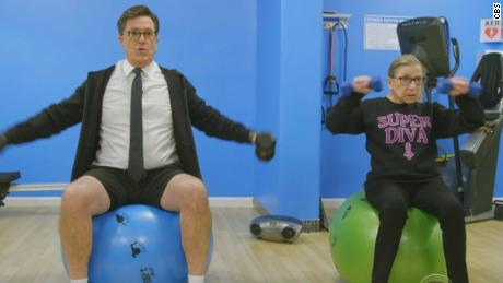 Colbert attempts Ruth Bader Ginsburg's workout