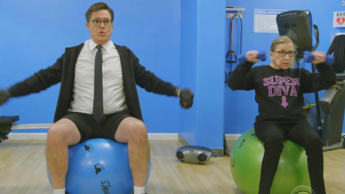Stephen Colbert learns RBG's workout is no joke
