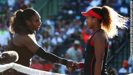Serena Williams congratulates 20-year-old Naomi Osaka after their clash in the first round of the Miami Open