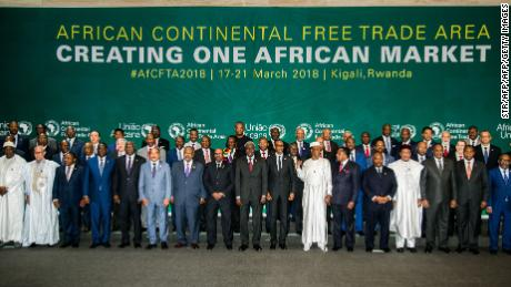 The African Heads of States and Governments pose during African Union (AU) Summit for the agreement to establish the African Continental Free Trade Area in Kigali, Rwanda.