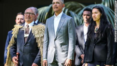 AUCKLAND, NEW ZEALAND - MARCH 22:  Barack Obama attends a powhiri at Government House on March 22, 2018 in Auckland, New Zealand. It is the former US president's first visit to New Zealand, where he will be giving a a series of talks. Obama will also meet New Zealand prime minister Jacinda Ardern and former PM John Key during his visit.  (Photo by Pool/Getty Images)