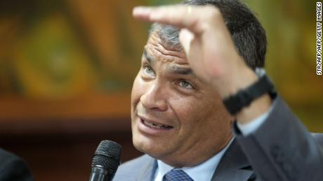 Former Ecuadorian president Rafael Correa testifies in connection with a case of alleged corruption, at the public prosecutor's office in Guayaquil, Ecuador on February 5, 2018. Correa testified just a few hours after Ecuadorians voted in a referendum to limit presidents to two terms, dealing a major blow to his hopes of returning to power. / AFP PHOTO / STR        (Photo credit should read STR/AFP/Getty Images)