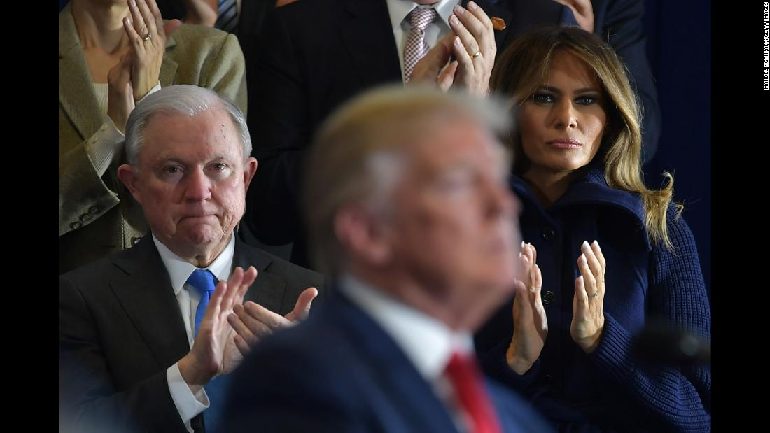 "Attorney General Jeff Sessions and first lady Melania Trump applaud as US President Donald Trump speaks about combating the opioid crisis in Manchester, New Hampshire, on Monday, March 19. Trump <a href=""https://www.cnn.com/2018/03/19/politics/opioid-policy-trump-new-hampshire/index.html"" target=""_blank"">officially proposed imposing the death penalty</a> for certain drug dealers, arguing that the federal government is ""wasting our time"" if it isn't willing to put some traffickers to death."