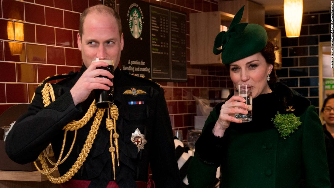 The Duke and Duchess of Cambridge celebrate St. Patrick's Day in Hounslow, West London, on Saturday, March 17.