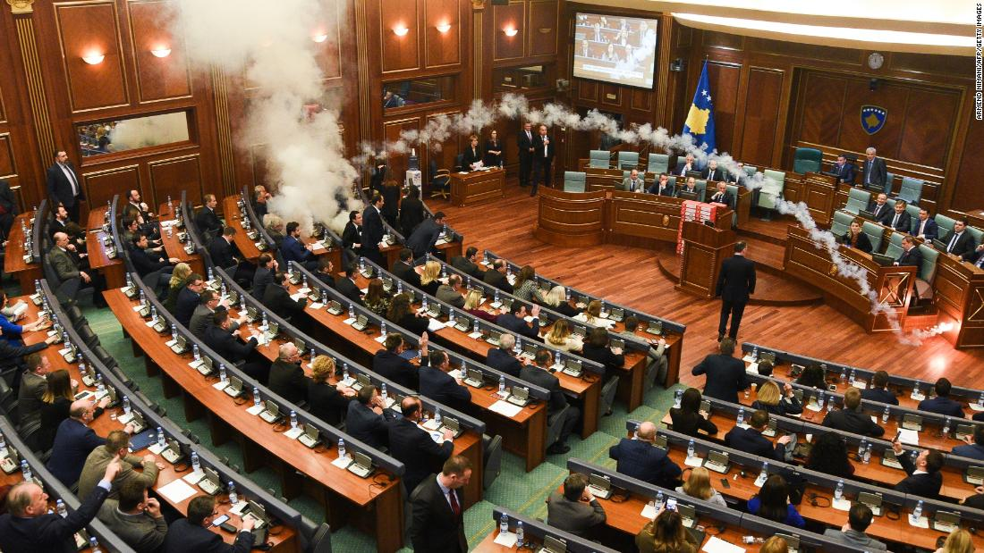 "Opposition lawmakers <a href=""https://www.cnn.com/2018/03/21/europe/kosovo-parliament-tear-gas-intl/index.html"" target=""_blank"">set off tear gas canisters</a> in Kosovo's Parliament chamber on Wednesday, March 21, in an attempt to prevent the ratification of a border agreement with neighboring Montenegro."