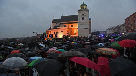 Women march in Warsaw in October 2017 to protest efforts by the Polish government to further restrict abortion.