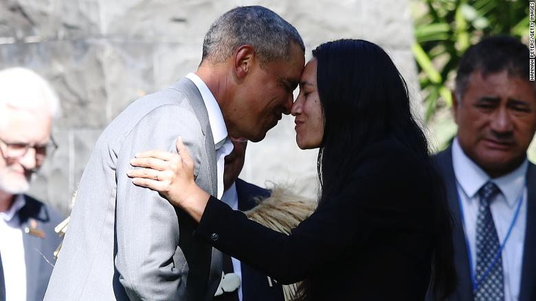 Barack obama gets a traditional nose rubbing welcome in new zealand barack obama receives a maori hongi during an event on friday in auckland new zealand m4hsunfo