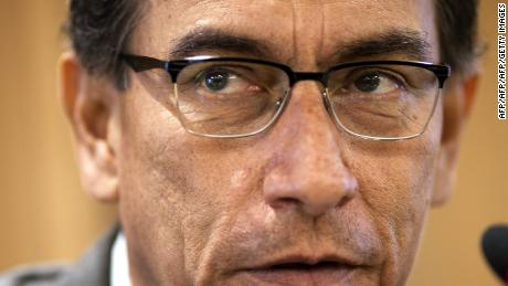Peruvian Vice President and Minister of Transport and Communications, Martin Vizcarra, talks to foreign correspondents during a press conference at his offices in Lima on March 15, 2017.  On March 16, Congress will present Vizcarra with a list of 82 questions about a controversial addendum to the contract for the Chinchero international airport, to be built in the region of Cuzco. / AFP PHOTO / Raul Garcia        (Photo credit should read RAUL GARCIA/AFP/Getty Images)