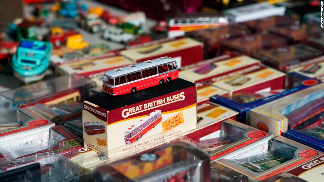 Vintage toys are seen on display at the market.