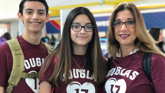 Sophomore Nicholas Fraser, his 14-year-old sister Camila and mom Claudia Fajardo all say they are excited to spur change in Washington.