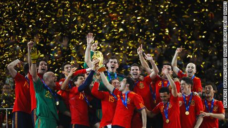 Spain won the World Cup in 2010