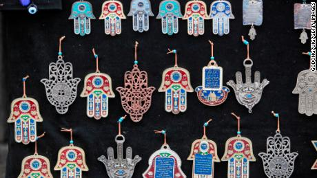 The hamesh hand or hamsa hand is a popular motif in Jewish jewelry.