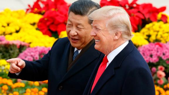 BEIJING, CHINA - NOVEMBER 9:  Chinese President Xi Jinping and U.S. President Donald Trump attend a welcoming ceremony November 9, 2017 in Beijing, China. Trump is on a 10-day trip to Asia.  (Photo by Thomas Peter-Pool/Getty Images)
