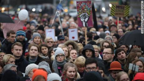 "People gather as part of ""Black Friday"" in Poznan, Poland."