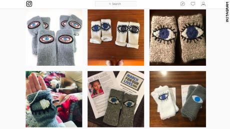 People are sharing their gloves on social media as a show of support