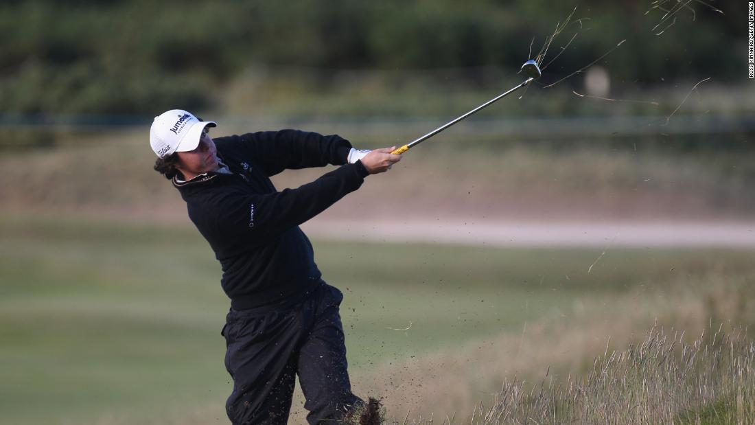 <strong>Blown off course:</strong> But he struggled to cope with wild winds on day two and dropped back before battling to a distant third place behind South African Louis Oosthuizen.