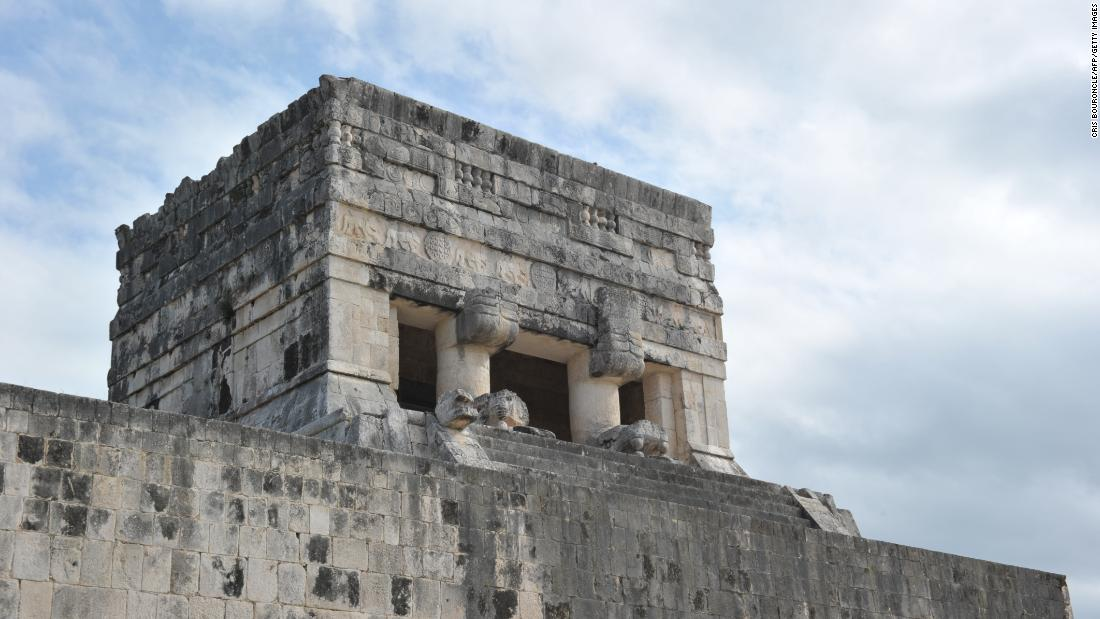 "The Upper Temple of the Jaguar overlooks the Great Ball Court at Chichen Itza. The city has been classified as one of the ""new Seven Wonders of the World"" and in 1988 was enlisted as a UNESCO World Heritage Site."