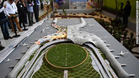 View of a mock-up of the new airport of Mexico City, in Texcoco, Mexico State on October 25, 2016. / AFP / PEDRO PARDO        (Photo credit should read PEDRO PARDO/AFP/Getty Images)