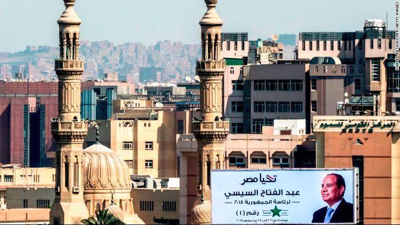 A billboard for President Abdel Fattah el-Sisi next to a bridge over the river Nile in Cairo.