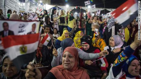 Egyptian supporters of President Abdel Fattah el-Sisi at a rally in Cairo on March 9, 2018.