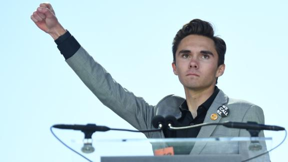 Marjory Stoneman Douglas High School student David Hogg addresses the crowd during the March For Our Lives rally against gun violence in Washington, DC on March 24, 2018.