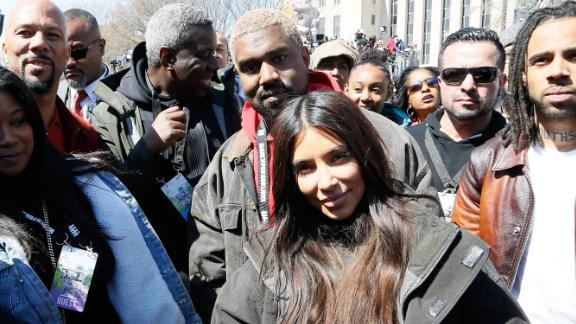 Kanye West and Kim Kardashian West appear at the March For Our Lives in Washington.
