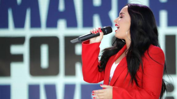 Demi Lovato performs during the March for Our Lives rally in Washington.
