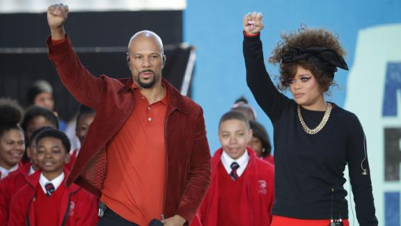 "Common and Andra Day perform ""Stand Up For Something"" with members of the Cardinal Shehan School Choir during the March for Our Lives rally."