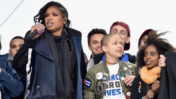 Edna Chavez (left), Jennifer Hudson, Emma Gonzalez, Noami Wadler and Sam Zeif appear onstage at the March For Our Lives rally in Washington.