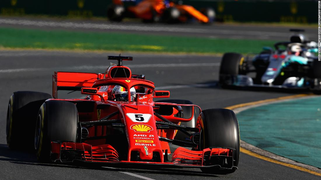 Vettel took full advantage of a bizarre incident involving both cars of the American-owned Haas team to claim the opening race of the 2018 Formula One season in Australia.