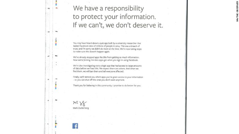Mark Zuckerberg says sorry in fullpage newspaper ads CNN