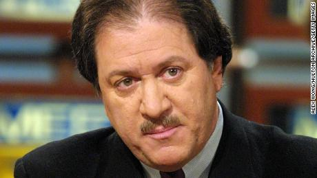"In this file photo, Joseph diGenova, attorney for Jack Quinn, discusses former president Bill Clinton's pardon of fugitive financier Marc Rich on ""Meet the Press"" February 11, 2001 at the NBC studio in Washington, D. C."