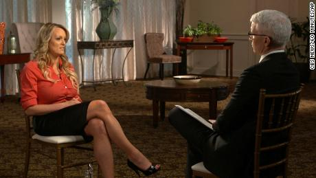 "This image released by CBS News shows Stormy Daniels, left, during an interview with Anderson Cooper which will air on Sunday, March 25, on ""60 Minutes."""