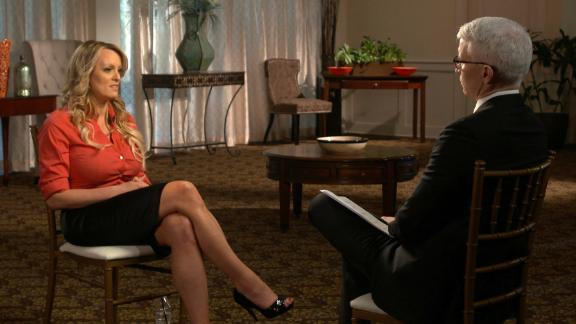 """This image released by CBS News shows Stormy Daniels, left, during an interview with Anderson Cooper which will air on Sunday, March 25, on """"60 Minutes."""""""